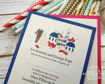 Santorini Postcard Wedding/Evening Invitations
