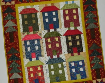 Art Quilt ~ Old Town Wall Hanging, 36 x 42 Inches, OOAK ~ Houses and Trees, Blue, Red, Green, Brown
