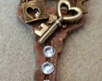 Key Aged Steam punk Up-cycled Altered Pendant
