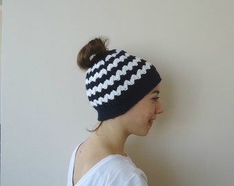 Messy Bun Beanie, Running Hat, Pony Tail Hat, Top Knot Hat Beanie, Crocheted Bun Hat for all Hair Types, Runners Beanie, Hair Through Hat