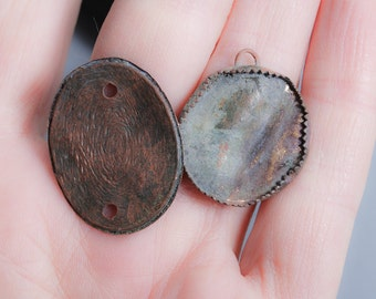Set of 2 Antique brass charms, pendants, connectors, finding, dark patina