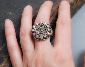 Vintage brass ring, filigree decor, glass rhinestones, adjustable