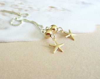 NEW-Starfish Threaders-Gold and Silver-Sea Stars-Mixed Metals