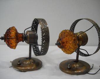 Vintage Amber Glass And Brass Wall Mount Lamps Lights FREE SHIPPING