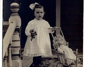 20% OFF Adorable Girl with Doll in Carriage Real Photo Antique Postcard, Toy, Flowers, RPPC Ephemera c1910, FREE Shipping