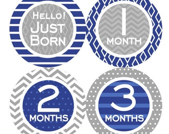 1st Year Baby Month Stickers, PLUS Just Born, Baby Boy Milestone Stickers, Bodysuit Monthly Stickers, Chevron White Navy Blue Grey 071B