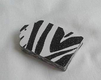 Gift Tag Set / Black Zebra Print / Sparkle / Black and White