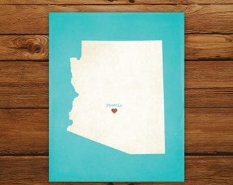 Customized Printable Arizona State Map - DIGITAL FILE, Aged-Look Personalized Wall Art