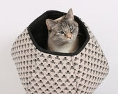 Mini Size Cat Ball in Skulls and Crossbones - A pirate theme pet bed for small cats with big attitudes