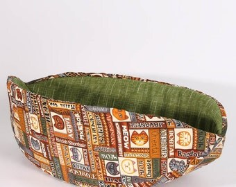 Cat Canoe Modern Cat Bed in Wildcats Fabric with Avocado Green Lining - kitty furniture made in USA