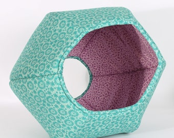 Cat Ball modern pet bed in teal lace and purple cotton fabric - This Cat Cave has two openings and was made in USA