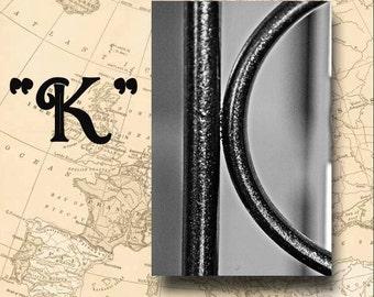 Letter K Alphabet Photography Black and White or Sepia 4 x 6 Photo Letter Unframed