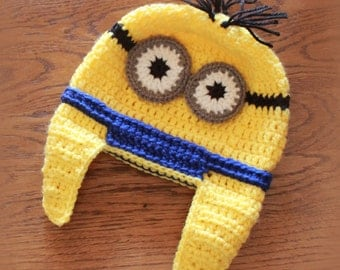 Minion Hat with earflaps (size: toddler/child)