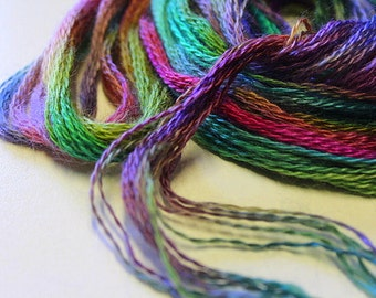 Fine embellishing or embroidery  threads hand dyed - mohair