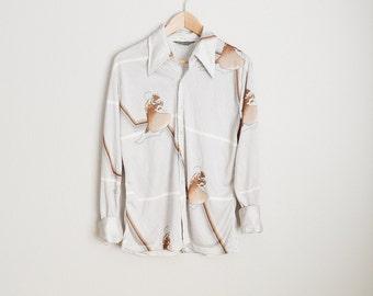 Vintage 70s DISCO shirt by Chemise et Cie LAST TANGO dancing couple // mens medium