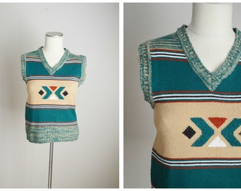 vintage 70s  native american geometric green tan vest-- womens small