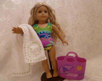 18 Inch Doll Neon Tropical Print One-Piece Reversible Bathing Suit, Beach Towel and Purple Tote Bag for American Girl Dolls