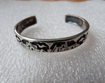 Vintage Sterling Silver Native American Storyteller Bracelet