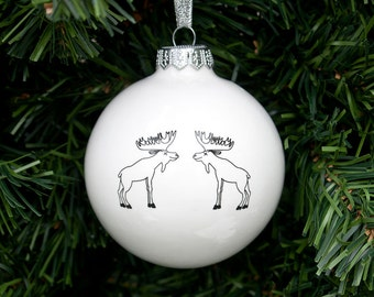 Handmade Christmas Ornament with Moose, White Christmas Bauble, Scandi Christmas Ornament