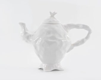 White Ceramic Teapot, Porcelain Teapot