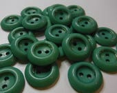 "25 Mint Green Gold Ring Round Buttons Size 13/16""."