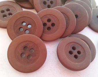 """16 Chocolate Brown Swirled Inside Round Buttons Size 11/16""""."""