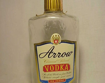 1963 Arrow Charcoal Filtered Vodka Detroit,Michigan, Retro Whiskey Liquor Bottle Flask with Paper labels, Great Movie Prop
