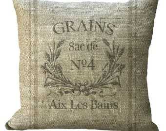 Reproduction Wheat Grain Sack in Choice of 14x14 16x16 18x18 20x20 22x22 24x24 26x26  inch Pillow Cover