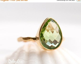 SALE - Green Peridot Ring Gold - August Birthstone Ring - Solitaire Stone Ring- Gold Ring - Stacking Ring - Tear Drop Ring - Solitaire Ring
