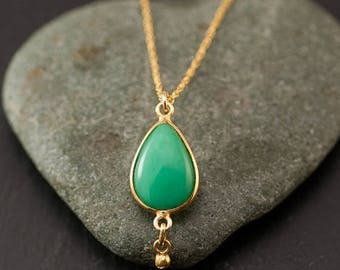 40 OFF - Chrysoprase Necklace - Cabochon Chrysoprase Drop - Gold Necklace - Green Stone Necklace
