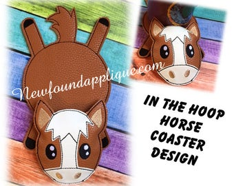 """In The Hoop Flat Coaster Horse Embroidery Machine Design for 5""""x7"""" Hoop"""