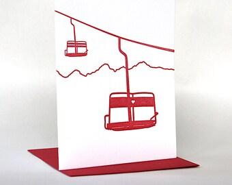 Ski Lift Love | Letterpress Valentine's Day Card