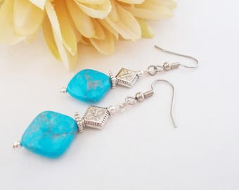 Turquoise Drop Earrings, Bohemian Gypsy Earrings, Hippie, Clip On, Stone Bead Earrings, Pewter Turquoise Jewelry, Birthday Gift for Her