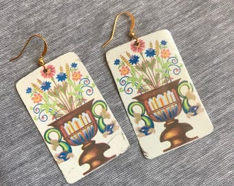 Grecian Floral Recycled Tin Earrings