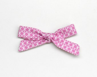 Pink School Girl Bow - Hand Tied Bow - Baby Bow - One Size Nylon Headband