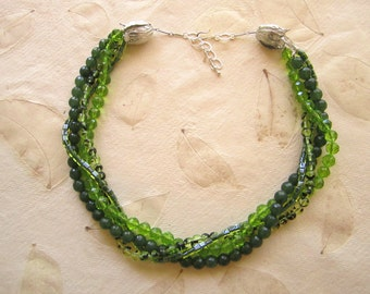 Shop Closing coupon Sale, Peridot and Emerald Multi Strand Necklace Set, Detachable, Interchangeable, Multi Wear,multi Green