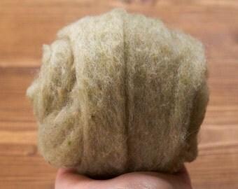 Lichen Green Needle Felting Wool, Wool Batting, Batts, Wet Felting, Spinning, Dyed Felting Wool, Light Green, Sage, Fiber Art Supplies