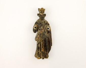 Antique Santos Folk Art Religious Icon Crown Wooden Polychrome Painted Saint