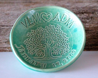Made to Order.... PERSONALIZED RING DISH, Wedding Ring Bowl, Tree of Life, Anniversary Ring Bowl, Ceramic, Handmade Pottery