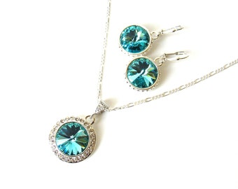 Turquoise Necklace & Earrings Set, Sterling Silver, Light Turquoise Jewelry Set, Swarovski Crystal Necklace and Earrings, Gift for Her