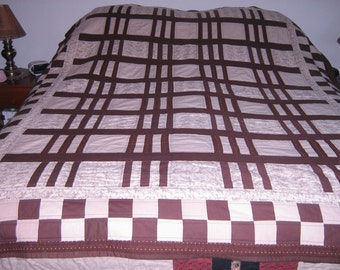Brown and Beige Striped Queen Quilt