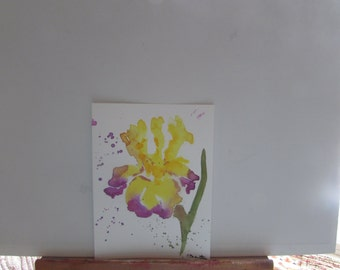 Contemporary Iris 6 x 8 original watercolor