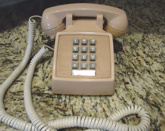 Vintage Beige Push Button phone, Retro phone, Steampunk, Phone, Prop