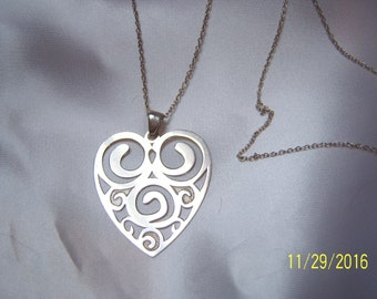 Sterling Silver Lightweight Cut-Out Heart Pendant and Chain Necklace