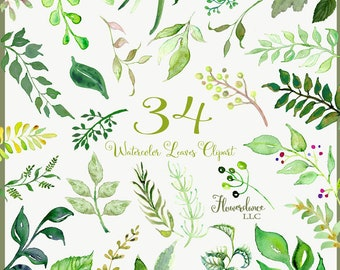 Watercolor leaves clipart, clipart green leaf, wedding greenery clipart, green leaves clipart, wedding leaves clipart, wedding leaf clipart