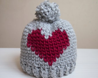 Crochet pattern Heart bulky hat, fair isle hat, women pom pom knit look beanie , DIY,  Instant download