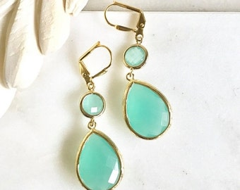 Aqua Teardrop Dangle Earrings. Fall Fashion Earrings. Turquoise Drop Earrings. Christmas Gift. Holiday Gift.