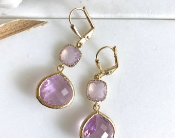 Bridesmaid Earrings in Pink and Pink Opal. Jewel Dangle Earrings in Gold.  Jewelry Gift. Wedding. Bridesmaid Earrings. Bridal. Dangle. Drop.