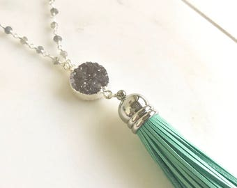 Turquoise Tassel Necklace in Silver with Grey Druzy. Long Turquoise Tassel Druzy Necklace in Silver. Long Bohemian Style Tasssel Necklace.