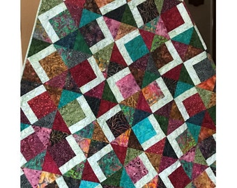Layer Cake Quilt Pattern -  Tai Chi Quilt Pattern - Sizes Crib to Queen / King - Confident Beginner - PDF INSTANT DOWNLOAD